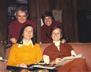 Among the eight (out of fifteen) members of the original EEWC council who were able to attend the first official council meeting in December 1978 were (left to right): Back row: Florence Brown and Ruth Schmidt. Front row: Ann Ramsey Moor and Karen Berns. The meeting was held in Coventry, Connecticut.