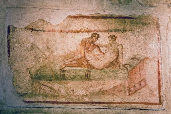 Erotic fresco in Pompeii
